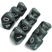 Smoke & Silver Borealis D10 Ten Sided Dice Set